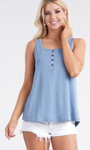 Basic loose fit tank top in denim color