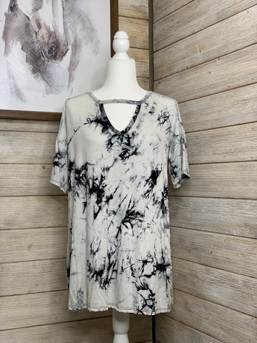 Black and White Tie Dye Top with keyhole detail