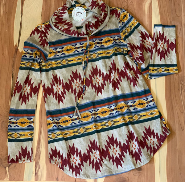 Aztec print cowl neck top