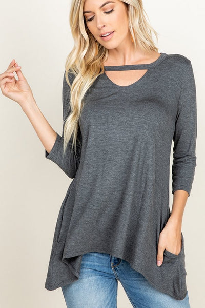 Grey High-low Tunic Top With Pockets and Keyhole Detail