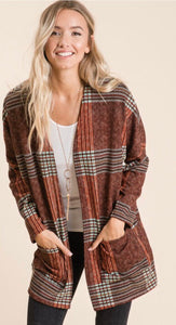 Plaid Cardigan with front pockets