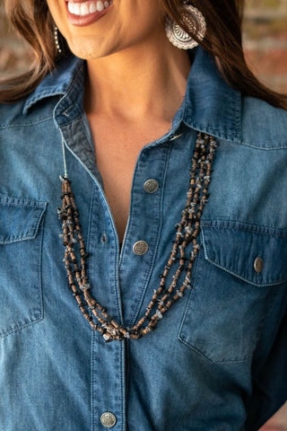 3 Strand Black Necklace