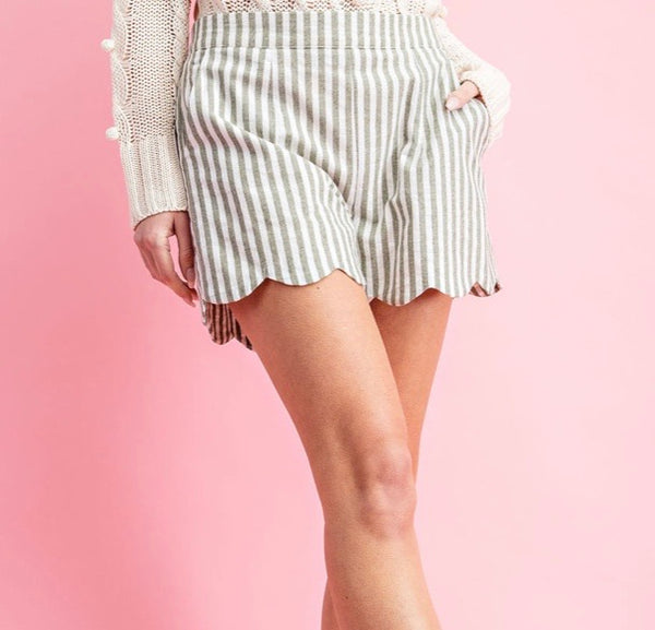 Pinstripe Scallop Hem Shorts in Olive