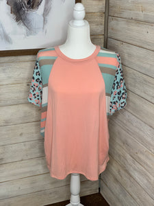 Pink Contrasting Fabric Mix Top