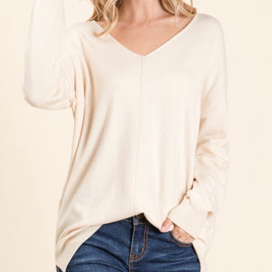 Soft Touch V-neck loose fit sweater tops available in Cream