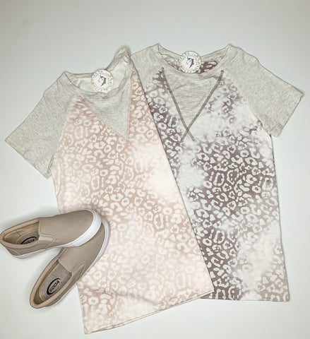 A Touch of Leopard Top in Mauve or Grey