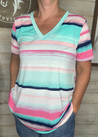 Pink and mint multi color stripe top