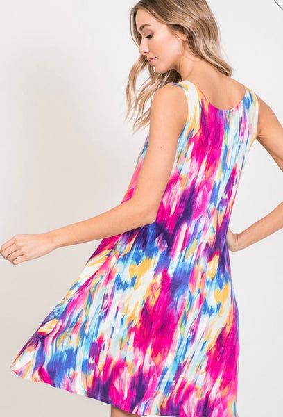 Multi Color Print Sleeveless Dress