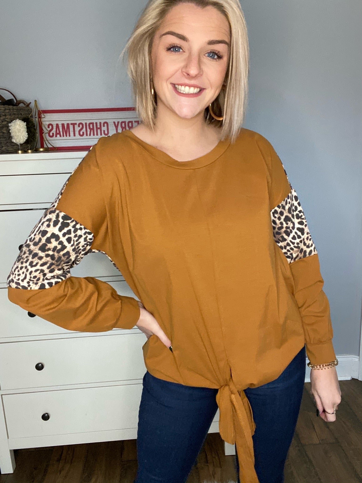 Mustard and Leopard Top