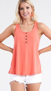 Basic loose fit tank top in Coral