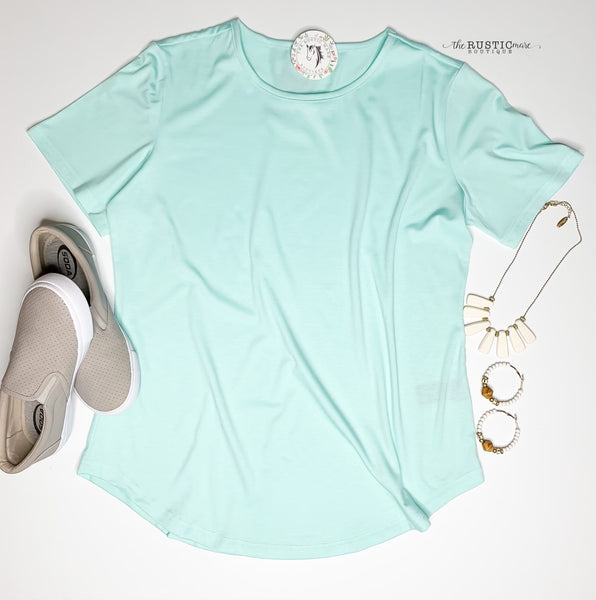 Fresh Mint Basic Scoop Neck Top