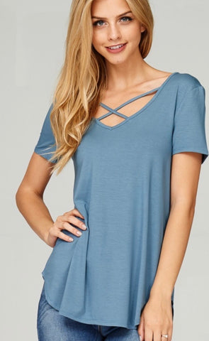 Criss Cross v neck top in Sea Blue