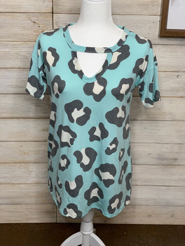 Mint Leopard Top with Keyhole Detail