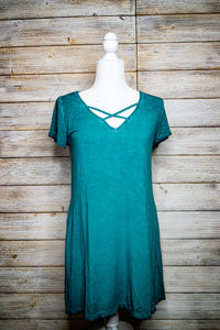 Shirt Dress with Criss Cross Vneck and side pockets