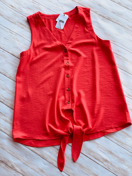 Button Down V-neck sleeveless tank top