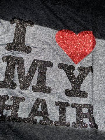 I Love My Hair: Dark heather sparkle t-shirt