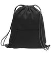 1222 Design: Image of the back a black sweatshirt drawstring bag