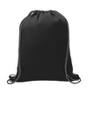 1222 Design: Image of the front of a black sweatshirt drawstring bag with a pocket