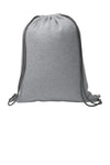 1222 Design: Image of the back a heather gray sweatshirt drawstring cinch bag.