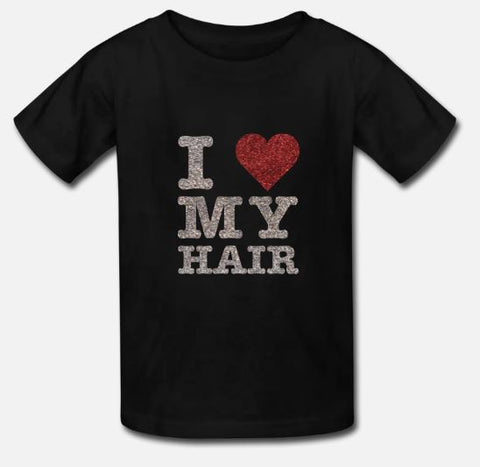 1222 Design: Child size black t-shirt with I  (heart symbol) My Hair in sparkle print