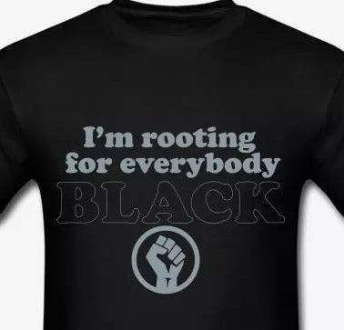 I'm Rooting For Everybody Black: Silver metallic t-shirt