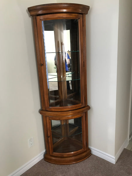 Curio Cabinet Solid Wood Corner Unit