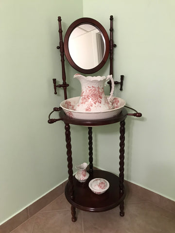 Wash stand and antique porcelain wash basin and pitcher, Pitcairns Limited of Tunstall, England, rose pattern