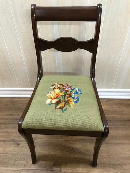 Solid wood chair with needlepoint cushioned seating