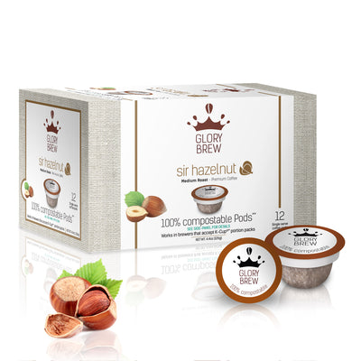 Compostable Keurig K-Cups Alternative Hazelnut Coffee Pods from Glorybrew