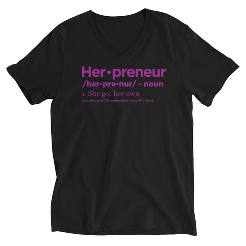 Herpreneur Black and Purple V-Neck