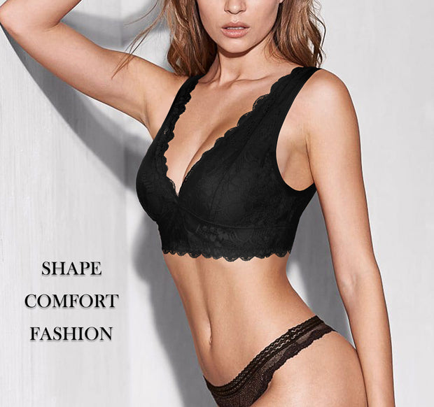 Bralette for Women Lace Plunge Bra Deep V Racerback with Removable Pads Wirefree