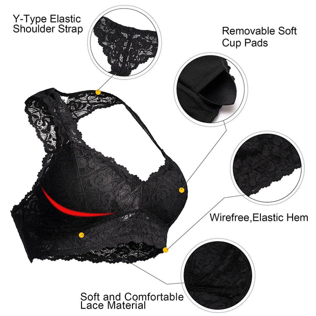 Breathable Racerback Padded Lace Bralette