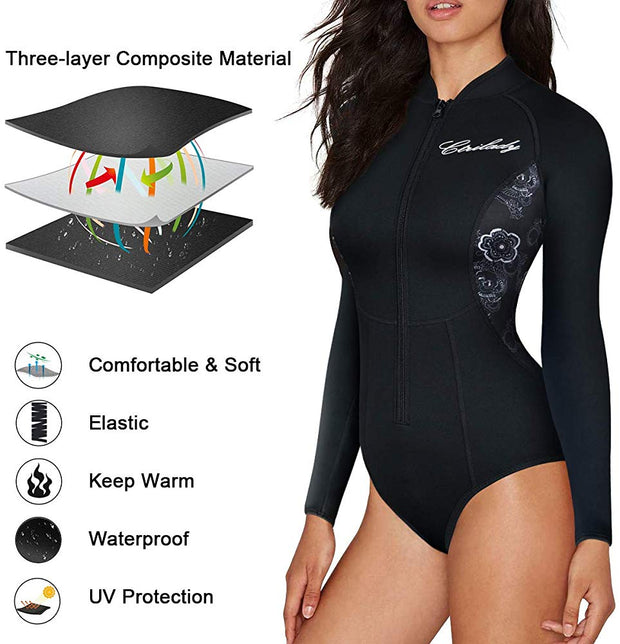 Women's neoprene wetsuit long sleeves swimsuit with front zipper