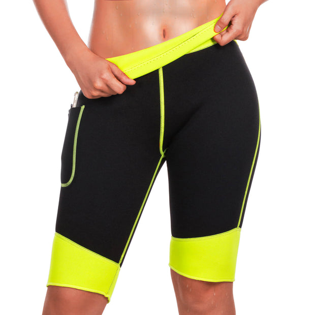 Hot Neoprene Sauna Sweat Pants with Side Pocket Workout Thighs Slimming Capris Leggings