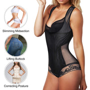 Women Waist Trainer Bodysuit Double Slim Full Body Shapewear Breathable Smooth Corset