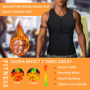 Men hot neoprene sauna suit waist trainer vest effect picture, provide sauna effect 3 times sweat.