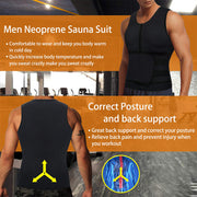 Junlan men neoprene sauna suit front and back  image, have correct posture and back support feature