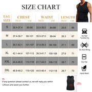 Junlan Men Sauna Zipper Tank Top with Adjustable Velcro size chart