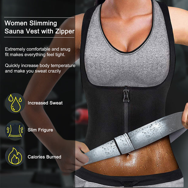 Junlan Women Silver Fabric Sweat Zipper Sauna Suit