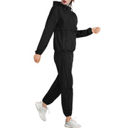 A women wear a women hooded sweat hot sauna jacket and sauna pant