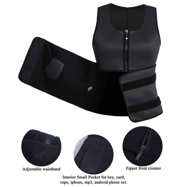 Workout Vest with Adjustable Waist Trimmer