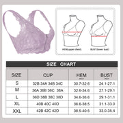 women Floral lace bralette for with zipper & removable padded