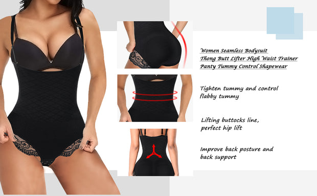 Women seamless bodysuit thong butt lifter high waist trainer