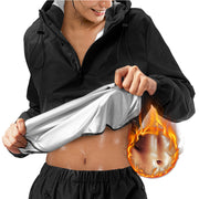 This is Junlan Women Hooded Sweat Hot Sauna Jacket Main Picture
