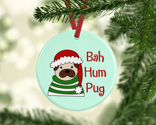 Bah Hum Pug Ceramic Christmas Ornament