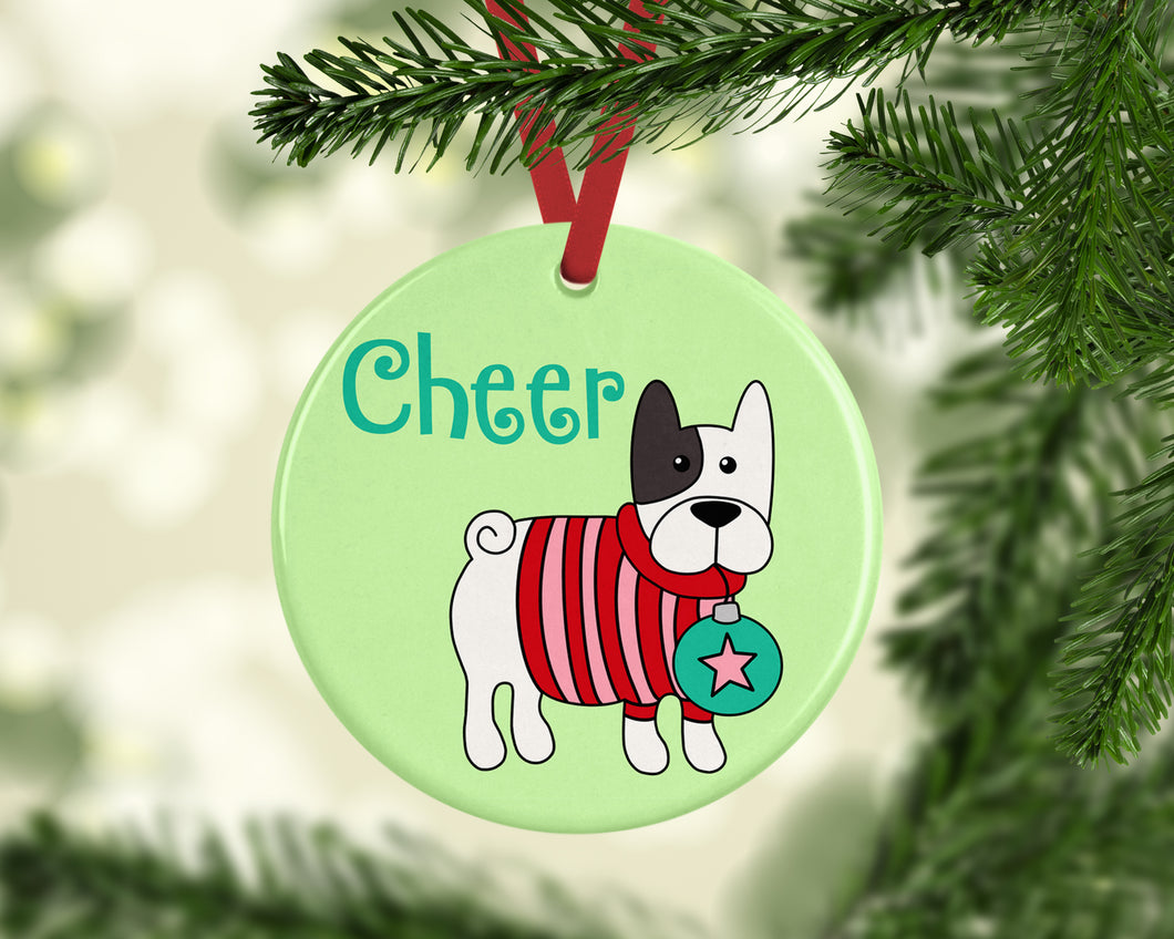 Cheer French Bulldog Ceramic Christmas Ornament