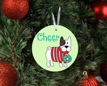 Load image into Gallery viewer, Cheer French Bulldog Ceramic Christmas Ornament