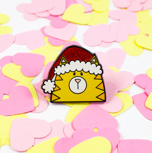 Tis the Season Christmas Cat In A Santa Hat Hard Enamel Pin