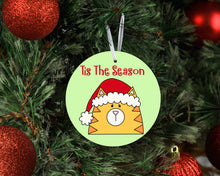 Load image into Gallery viewer, Tis The Season Cat In A Santa Hat Ceramic Ornament