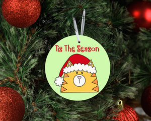 Tis The Season Cat In A Santa Hat Ceramic Ornament